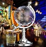DELIBEST Globus Acryl Whisky Dekanter Set, Globus Modellierungskanone Antikes Schiff Glas Stopper Gießen Trichter Alkohol Dispenser Spirituosen Scotch Bourbon Wodka Rum Wein Tequila Brandy 1.5L