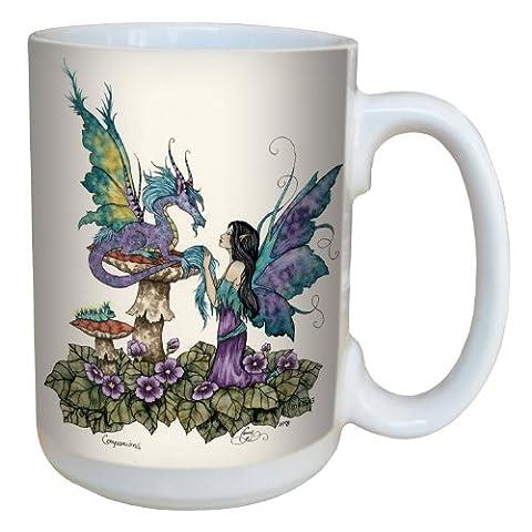 Tree-Free Greetings lm43543 15 oz Fantasy Companions Dragon and Fairy Ceramic Mug with Full Sized