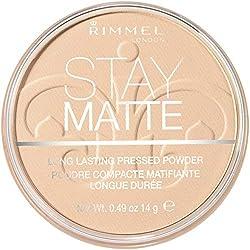 Rimmel - Poudre Compact Stay Matte - Anti-brillance - Fini mat et naturel - 001 Transparent - 14gr
