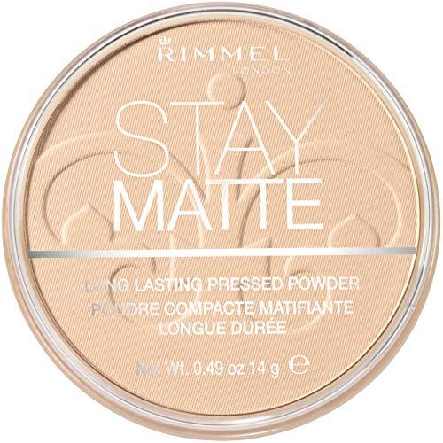 Rimmel London - Cipria Compatta Stay Matte - Polvere Opacizzante a Lunga Tenuta per Pelli Grasse e Miste - 001 Transparent - 14 g