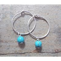 SALE. Sterling Silver Small 15mm Hoop Earrings with Turquoise Balls