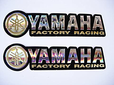 3D gold / chrome YAMAHA stickers decals - set of 2 pieces