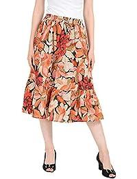 COTTON BREEZE Women's Cotton Regular Fit Skirt (FP648, Multicolour, Free Size)