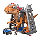 Imaginext T-Rex from Jurassic World with Colour Changing Eyes with Lights, Owen Figure, Car and Dart Launcher, Gift for Kids from 3 Years