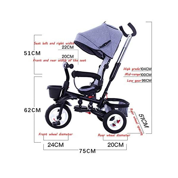 4 In 1 Childrens Folding Tricycle 360° Swivelling Saddle Blockable Rear Wheels Childrens Tricycles Detachable And Adjustable Push Handle 6 Months To 6 Years Child Trike Maximum Weight 25 Kg,Red BGHKFF ★ 4 in 1 multi-function: can be converted into a stroller and a tricycle. Remove the backrest and awning as a tricycle. ★Material: High carbon steel frame, quiet, shockproof, suitable for children from 6 months to 6 years old, maximum weight: 25 kg ★ Tricycle foldable, space saving, easy to carry, seat can be rotated 360°, is the best travel companion, 2-point seat belt, front wheel clutch, rear wheel brake, footrest can be folded 6