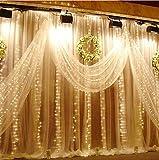 LED Lichtervorhang, Vegena 300 LEDs Lichterwand 3m x 3m Lichterkettenvorhang 8 Modi Wasserfest Lichterkette Warmweiß mit Fernbedienung für Außen Innen Deko Weihnachtsbeleuchtung Hochzeit Party