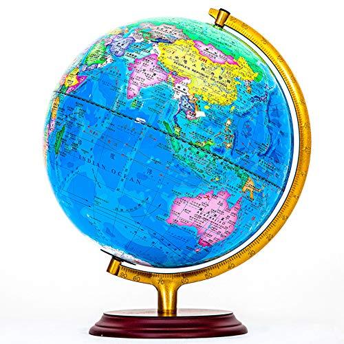 WPFC 12-Zoll-diam-Weltkugel Teaching-Globus Geographie Lernen Eingebaute Beleuchtung Metallhalterung - Massivholzsockel (12 Zoll)