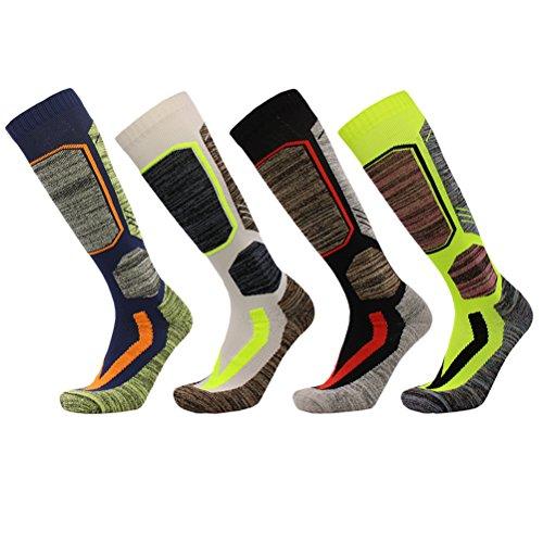 Ski-3 Pair Pack (Zhhlinyuan Unisex Multi Performance Thermal Ski Socken Hiking Trekking Cycling Sport Socken (4 Pair Pack))