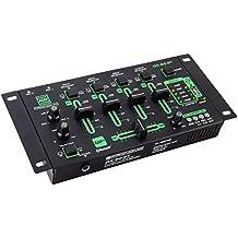 Pronomic DX-50 - Mesa de mezclas (4 canales, reproductor USB/MP3/Bluetooth incorporado, toma de micrófono, cable Cinch)