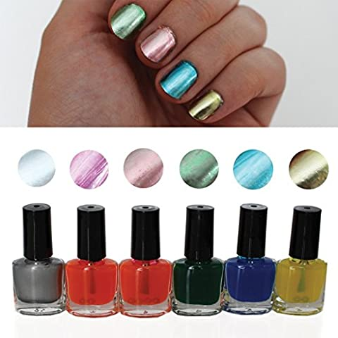 8 Pc Chrome Metallic Nail Polish Varnish By Kurtzy - 3 Stage Nail Polish With 8ml Bottle Including Primer, Base Coat and Lacquer - Suitable For Home and Professional Salon Use - Perfect