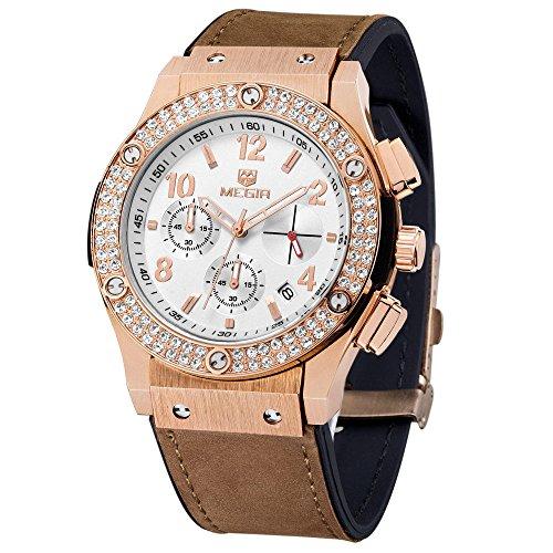 MEGIR Beiläufige Frauen-Kleid-Uhr-Rose Gold-Diamant-Kristalluhren Chronograph & Auto Date