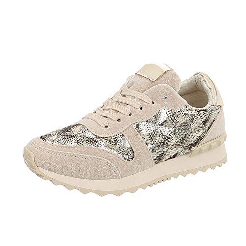Ital-design Chaussures Femme Sneaker Plat Sneakers Bas Beige Or G-97