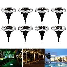 CPROSP 8 pcs Luce Solare da Giardino All'aperto con Luce Bianca Calda a LED Fonte di Terra Solare All'aperto per il Sentiero Terrazza Giardino Giardino Cortile Prato Bianco