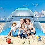 Wilwolfer Tente de Plage Pop Up Sun Abri Plus Cabana Auvent Automatique Abat-Jour Portable Protection UV Coupe-Vent Stable avec Sac de Transport pour l'extérieur
