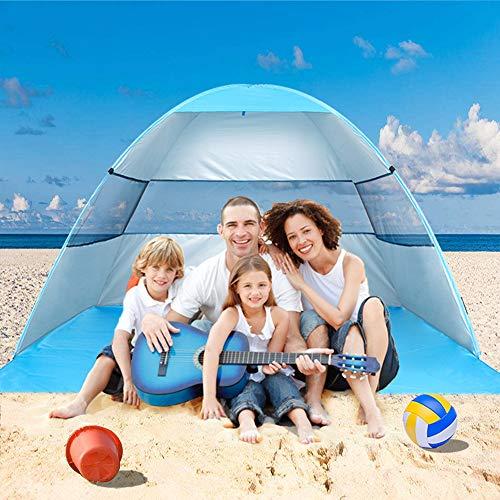 Wilwolfer Tienda de campaña para Playa Pop Up Sun Shelter Plus Cabana Toldo automático Sombra portátil protección UV Resistente al Viento Estable con Bolsa de Transporte para Exteriores, Azul