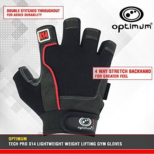 OPTIMUM Tech PRO X14 - Guanti Ultra Leggeri per Sollevamento Pesi e Palestra, Nero (Nero/Rosso), S