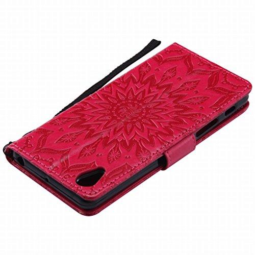 LEMORRY Sony Xperia X Performance Custodia Pelle Cuoio Flip Portafoglio Borsa Sottile Bumper Protettivo Magnetico Morbido Silicone TPU Cover Custodia per Sony Xperia X Performance, Fiorire Rosa Rosso