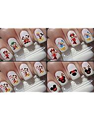 Weihnachten Nail Sticker Decals Disney Mickey Mouse Disney Minnie Maus Köpfe Zeichen 4Pack Kit