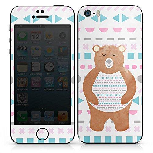 Apple iPhone SE Case Skin Sticker aus Vinyl-Folie Aufkleber Bär Muster Bärchen DesignSkins® glänzend