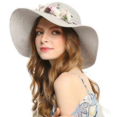 WELROG Frauen Derby Hochzeits Hut Diskette Breiter Rand Tee Party Cocktail Hüte Sonnenhut Zum Mädchen Faltbare Strand Hut (Beige # 2
