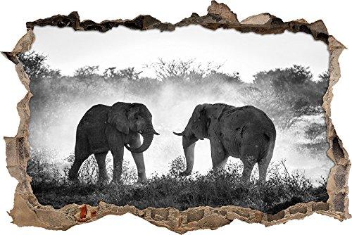 Les éléphants se battent art B & W percée de mur en 3D look, mur ou format vignette de la porte: 62x42cm, stickers muraux, sticker mural, décoration murale