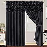 LUXURY Damask Curtains Pair Of Half Flock Pencil Pleat Window Curtain Fusion(TM) (90x90, black)