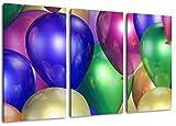 Colorful format ballons: trois pièces 120x80 totale, peinture sur toile couverte, des images énormes XXL complètement finis et encadrées de civière, impression d'art sur la photo murale avec cadre, moins cher que la peinture ou la photo, pas d'affiches ou de l'affiche