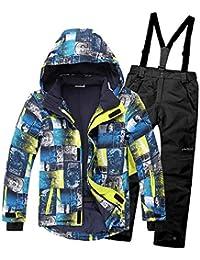 LPATTERN 2 Piezas Traje de Nieve Niños Abrigos(Conjunto) Chaqueta con Capucha + Pantalones Niña Niño Ropa de Invierno