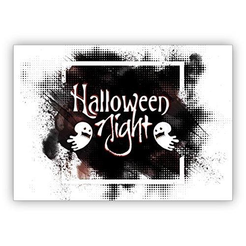 Grußkarten Set (10Stk) Schaurig schöne Halloween Einladungskarte mit Geistern: Halloween (Für Geist Gutscheine Halloween)