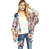 Coolster Damen 3/4 Ärmel Mid Chiffon Loose Kimono Strickjacke Schal Bluse Plus (X-Large)