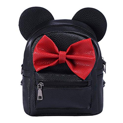 OBEEII Ragazze Mickey Minnie Borsa a Tracolla Piccola Mini Zaino in Pelle PU Multifunzione Backpack Tracolle Regolabili Bags da Scuola Viaggio Sportive Casual Sportive Picnic Nero
