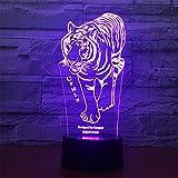Road&Cool Beleuchtung Lichter Lampen Tiger 3D Nachtlicht Acryl Bett Dekoration LED Kind Schlafzimmer Tischlampe Stimmung USB Bunt Erleuchtung Geschenk (22 * 15 * 6cm)