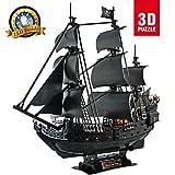 LED-Licht geheimnisvolle Königin Rache 3D-Puzzle-Modellschiff, Piraten Black Pearl DIY 3D Schiff Modell Spielzeug Geschenk