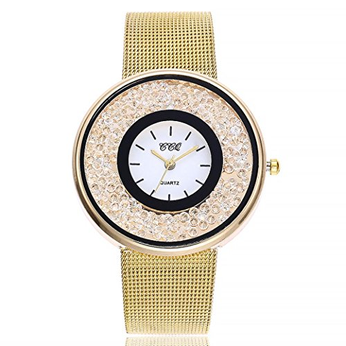 Uhren Dellin V212 Damen Beiläufige Bælte Quarz Edelstahl Band Marmorband Uhr analoge Armbanduhr (Golden)