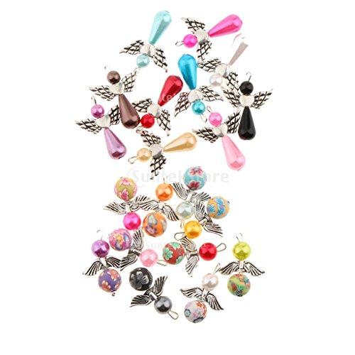 Sharplace 20 Stück Engel Flügel Charme Anhänger Basteln Schmuck Halskette Perlenengel Anhänger (20 Anhänger Halskette)