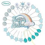 Ohighing Cake Topper Happy Birthday Blau Kuchen Decoration Cupcake Toppers für Geburtstag Party Deko