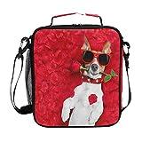 Bigjoke pranzo, Valentine Dog rose lunch box isolato in neoprene con zip per adulti bambini Outdoor Lady uomo scuola borsa da picnic e campeggio