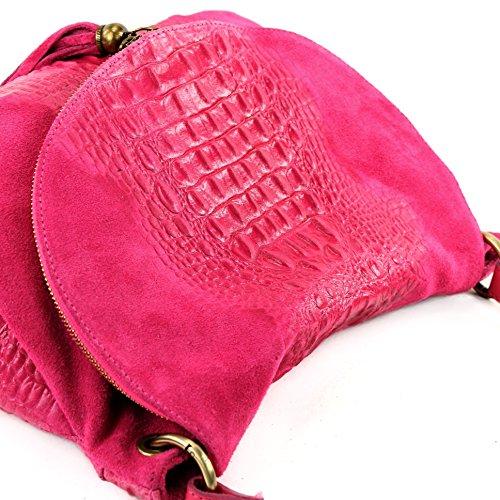 pelle borsetta Pink a Kroko in nappa tracolla Borsa italiana in donna Wildleder linea T68 pelle xzHd75aqw
