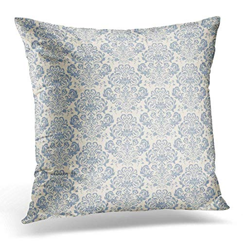Yuerb kissenbezüge Beige Damask Blue Color Victorian Floral Ornate Retro Decorative Pillow Case Home Decor Square 18x18 Inches Pillowcase (Kleine Boudoir Kissen)