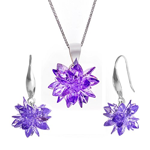 Donna set di gioielli collana e orecchini pendente 925 argento sterlina cubic zirconia - set di loto di neve viola - changeable
