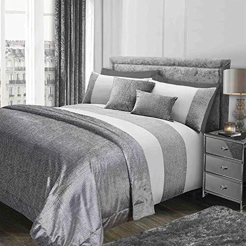 Sienna funkelndes Glitzer-Bettwäscheset aus Samt mit Glitzer-Bettbezug und Kissenbezug, grau-Silber, für Kingsize-Betten - Kingsize-bettbezug-bett