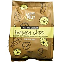 Marchio Amazon - Happy Belly Chips di banane, 7 x 100 g