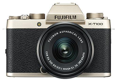 """Fujifilm X-T100 w/XC15-45mm Kit Champagne Gold Mirrorless Digital Camera with 3.0"""" TFT LCD"""