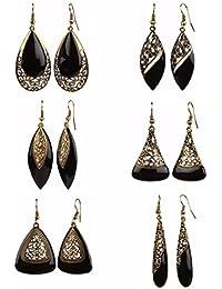 Efulgenz Black Oxidised Gold Plated Combo of Dangler Earrings for Women