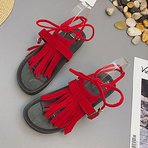 Quasten Sandalen,Kaiki Frauen Sandalen Casual Quaste Cross Strap Flip Flop Flache Sandalen Red