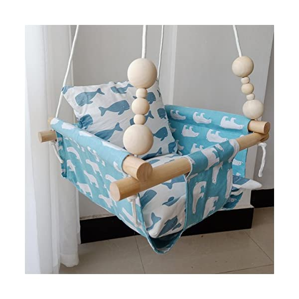 "HB.YE Wooden Baby Swing Seat Set with Beads Cushions, Handmade Kids Indoor Outdoor Hanging Chair Hammock, Comfortable Toddler Seat Nursery Decor - Blue Polar Bear HB.YE FOR BABY ONLY: This baby swing accommodates baby from 6 months to 4-year-old. The hammock chair measures 14.6""x14.6""x7.9"", adjustable rope measures 59"" approx, accommodate a child up to 55lbs. DOUBLE LAYERED FABRIC: Made of natural and durable linen canvas fabric with hypoallergenic. Double layered and double stitched, it creates a natural comfy ambient and ensure safety for your little baby. Breathable fabric even in the summer hot days, prevents toddlers from suffocation or any other discomfort. But please DON'T leave a kid alone whatever how safe it is. WRAPPED AROUND: Designed with wrapped around style, prevents baby from falling off or hurt, offer more solid security, but leaves wide leg opening, make their legs flexible stretch. Naturally develops baby's balances. What a smart and sweet design, great gift for baby's birthday or on festivals. Perfect for indoor and outdoor use. 1"