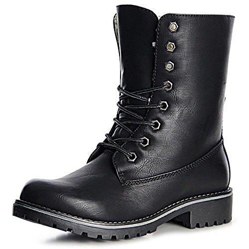 topschuhe24 986 Damen Worker Boots Stiefeletten Schnürer Gefüttert Schwarz