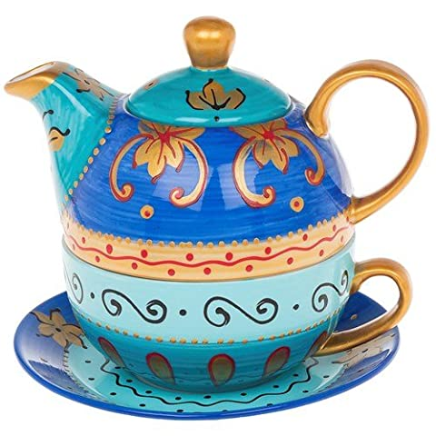 Arty Hand Painted Tea Pot in blue with Cup and Saucer Set - Tea for 1 by Joe Davies