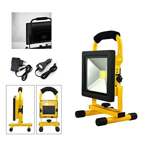 VINGO® LED 20w Tragbare 1800LM Strahler handlampe Wasserdicht Fluter Baulicht 4800MA Wiederaufladbare Camping Lampe Kaltweiß High Power