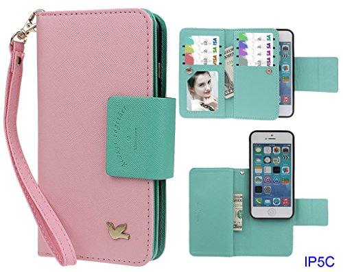 Hülle für iPhone 5C, xhorizon FX Prämie Leder Folio Case [Brieftasche] [Magnetisch abnehmbar] Uhrarmband Geldbeutel Flip Vogel Tasche Hülle für iPhone 5C mit 9H Hartglas Displayschutzfolie Pink